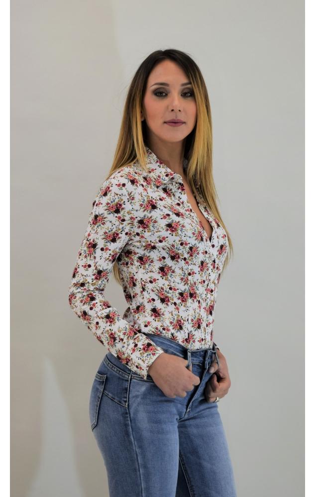 Camicia fantasia a fiori  - BIANCO