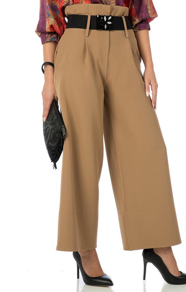 Pantalone vita alta con fiocco  - MARRONE