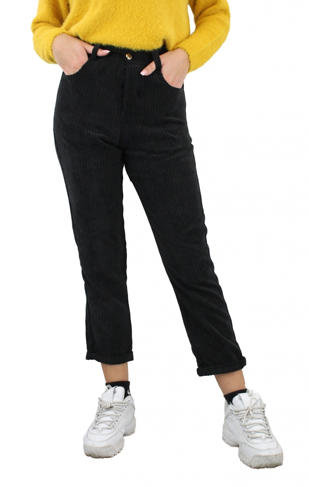 Pantalone a coste  - NERO