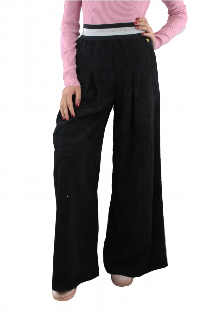 Pantalone palazzo in velluto - NERO